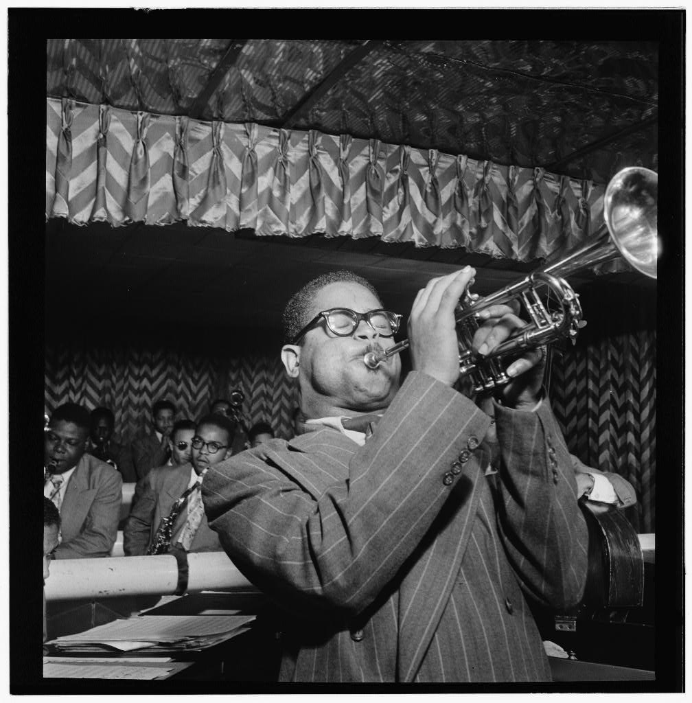 Dizzy Gillespie at the Club Downbeat, 52nd Street, New York City- photo by William P. Gottlieb, 1946-1948